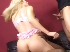 Slutty Blonde, Celestia Star, is Taking on Two Cocks at Once!