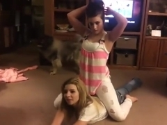 Homemade Jeans Wrestling Catfight in the Living Room