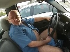 Parking lot masturbation in his truck
