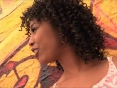 Ebony Misty Stone fucked in her both ends by white guys