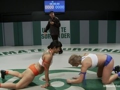 Dragon Destroyed on the Mat Made to CUM During Wrestling She is in tears trying not to cu