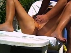 Dildo fun in the backyard