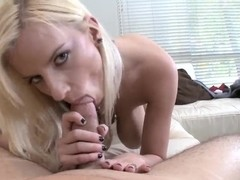 Blonde Haley Cummings sucks and bounds on dick