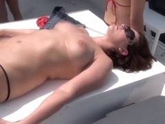 bikini flashing and nude sunbathing party girls