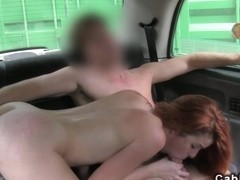 Redhead non-professional chick screwed in fake taxi