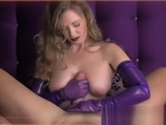 Woman In Purple Long Gloves Strokes His Cock