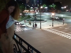 Camilla Moon - outdoor public pissing from a balcony in America (full)