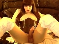 Exotic Amateur Shemale video with Latex, Solo scenes