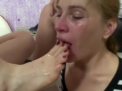 Brazilian Girl gets gagged with Feet - Lots of Spit