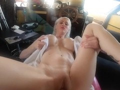Hot Blonde Big Titty MILF Gets Massage before taking Big Dick in Juicey Lips and Tight Pussy