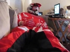 Jerking off in red MX gear
