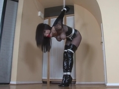 Mistress bondage fishnets high Boots