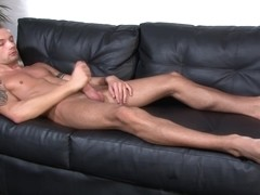 Hung straight soldier enjoys solo jerking off