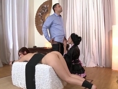 Ivana Sugar licks tied up Mira Sunset's butt