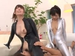 Two Girls in Catsuits Give Him The VIP Treatment