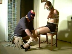 Topless Rope Bondage Wraparound tape gag