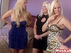 Busty cougars cumswapping during groupsex
