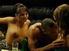 Demi & Joana & Kamali & Malika in black dude fucks two very cute college girls