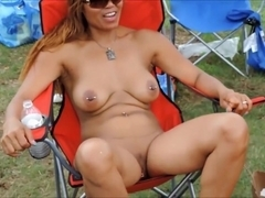 Big boobs amateur flashing and sex in public